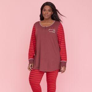 NWT Lane Bryant Cacique Pour Merlot Pajamas Set